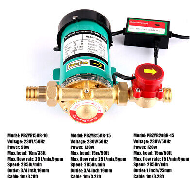 230V Automatic Hot Water Pressure Booster Pumps w/ Flow Switch Household UK Plug