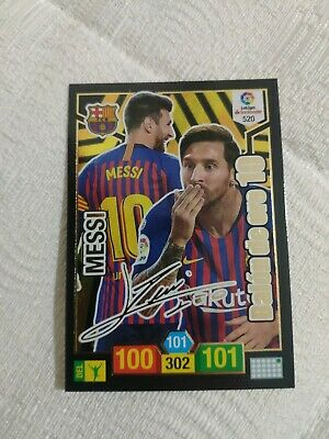 Signed Messi Adrenalyn Xl 18-19 Balon De Oro Messi Firmado Fc Barcelona