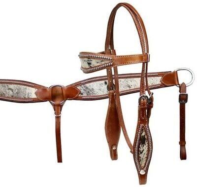 WESTERN SHOW HEADSTALL /& BREAST COLLAR SET-HAIR ON COW BRINDLE