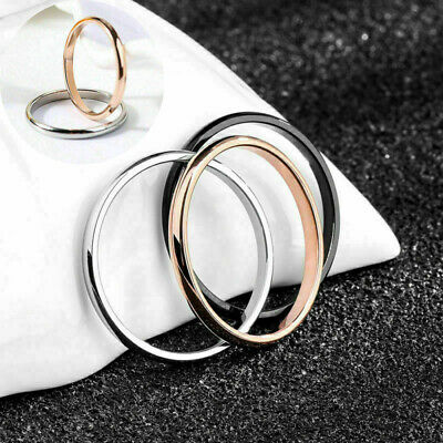 For Women  Size 3-10 2mm Ring Stainless Steel Plain Band Thin Stackable