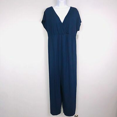 Old Navy Maternity Jumpsuit Medium Navy Blue V Neck Short Sleeve New Career S1