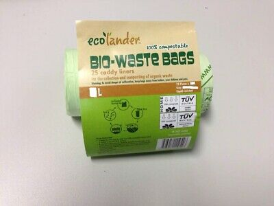 10x 25 Litre (Large roll) Bio degradable Compostable Kerbside Caddy Bin Liners