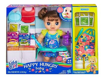 Brand New Baby Alive Happy Hungry Baby Brown Straight Hair Doll Girls Ages 3