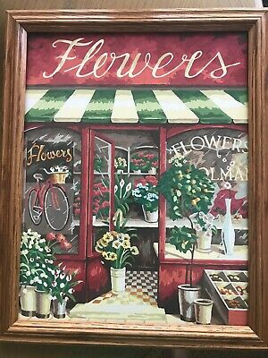 Paint By Number Flower Shop, Completed, Framed