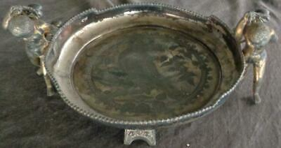 Victorian Middletown Plate Footed Silver Plate Tray  BEAUTIFUL PIECE - GILT GOLD