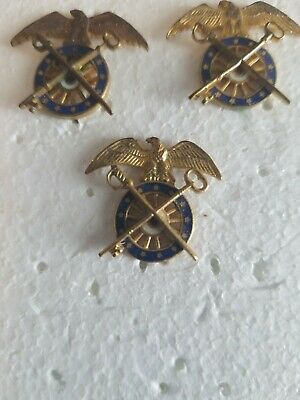 WW2 US Army Quartermaster Corps Officer Collar Insignia Pin (lot of 7) pin back