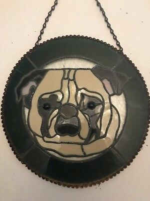 Pug Leaded Stained Glass Fawn Dog Hanging Panel Round Handmade Vintage 12""