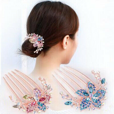 Hot Hairpin Headwear Accessory Womens Inlaid Hair Rhinestone Comb Elegant Flower