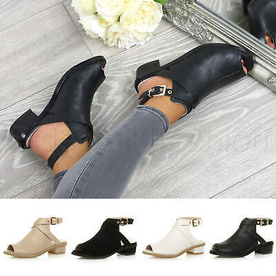 Womens ladies low mid heel strap open backless peep toe boots sandals shoes size
