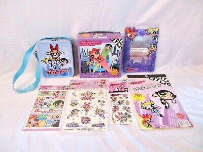 Lot Powerpuff Girls Stickers ~ Puzzle ~ Magnetic Mirror ~ Small Lunchbox
