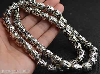Chinese Vintage Collectibles Tibet Silver Carving Buddha Head Amulet Necklace