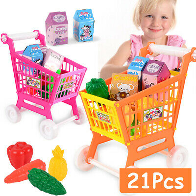 21Pcs/Set Shopping Cart Pretend Supermarket Children Kids Educational Play Toy