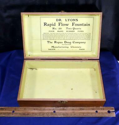 Antique Quack Medical Device Dr Lyons Rapid Flow Fountain Ropes Drug Co. Box !!