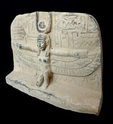 Plaque Winged Isis Goddess Figurine Hieroglyphic Relief Wall Egyptian Antique