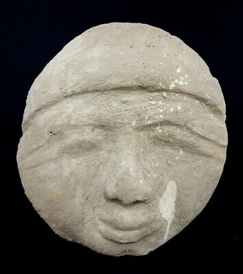 Ugly Stone Mask Ancient Egyptian Antique Civilization Bust Mummy Bead Figurine
