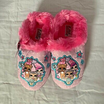 LOL Surprise Girls Slippers House Shoes Pink Plush Size Large 2-3
