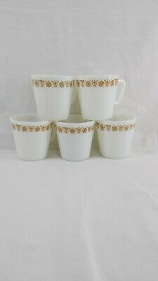 Vintage Lot 5 White Pyrex Gold Butterfly No 1410 300 ml Mugs Cups