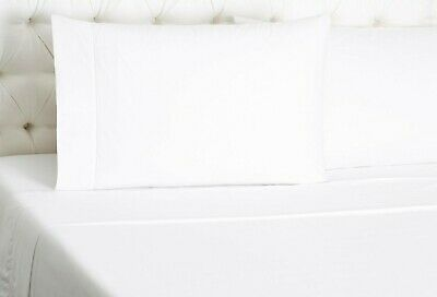 Sferra Leonardo White Standard Pillowcases Solid 100% Cotton Percale Italy NEW