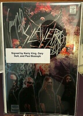 SLAYER #1 Bio Comic Wondercon METAL Cover Signed by Band! Kerry King, Gary Holt
