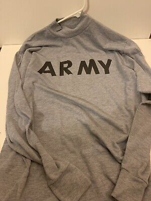 NEW GENUINE US ARMY GRAY LONG SLEEVE T SHIRT PT PHYSICAL FITNESS LARGE