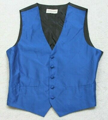 Pronto Uomo Blue Black 5-Button Suit Vest Mens Mans Sleeveless Polyester Small