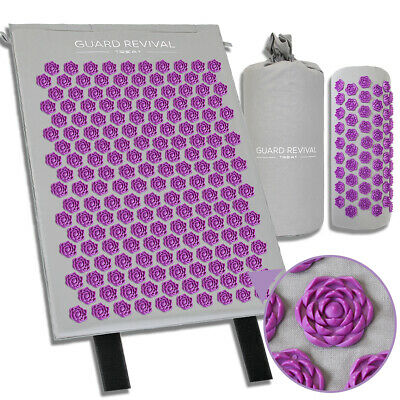 Acupressure Mat with Pillow Set Back Neck Pain Stress Tension Muscle Purple