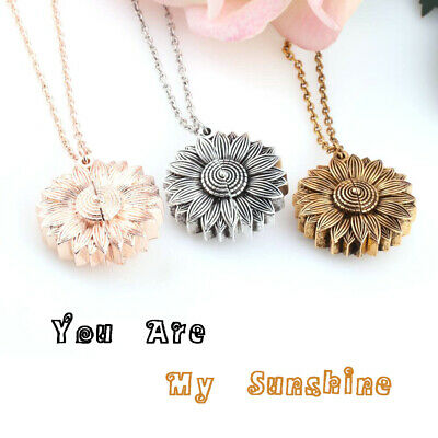 You Are My Sunshine Sunflower Pendant Necklace Open Locket Clavicular Chain New