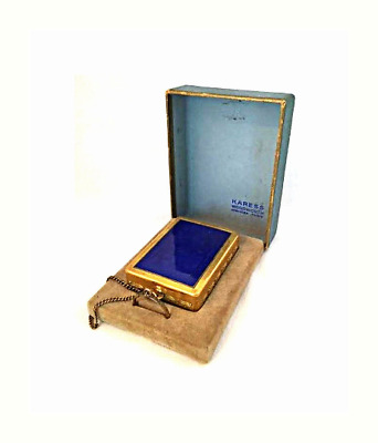 Antique 1920s Art Deco Karess by Woodworth Blue Guilloche Compact Vanity Case