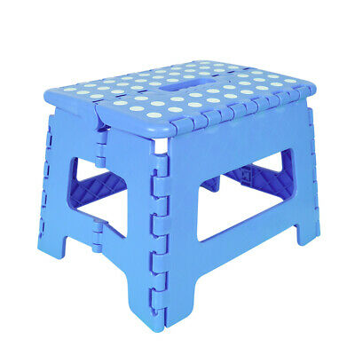 22cm Blue Heavy Duty Plastic Step Stool Foldable Multi Purpose Home Kitchen Use