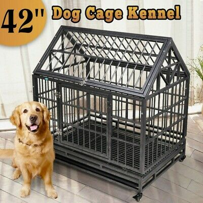 "37""/42"" Large Heavy Duty Metal Dog Crate Pet Kennel Cage Playpen w/Tray & Wheels"