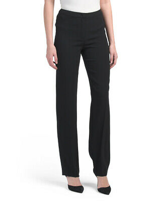 Escada Black Italian Crepe Straight Leg High Rise Slim Pants 36/6; NWT$575