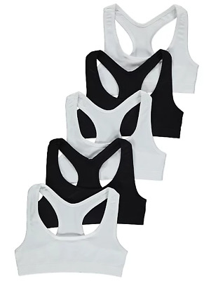 Girls Seamfree Crop Tops 5 Pack Black White Ages 6-16 Years