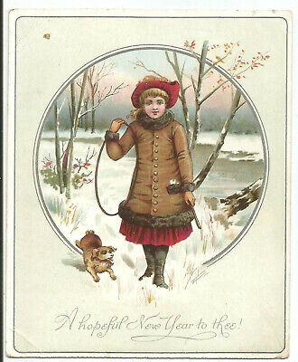Girl With Hoop & Puppy. Victorian Christmas Card.  Dated 1887. (1d)