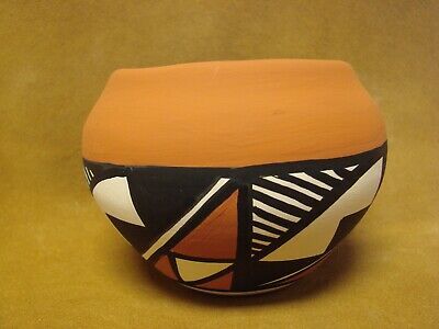 Native American Acoma Indian Pottery Hand Painted Pot by S.C