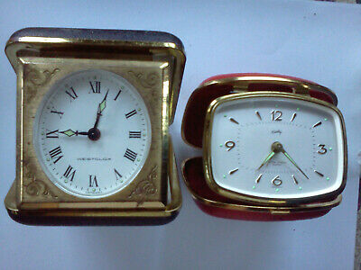 2 Travel Alarm Clocks Vintage WEST CLOX + BRADLEY German Hard Case 1960's WORKS