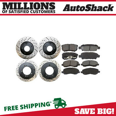 FRONT REAR SET Performance Cross Drilled Slotted Brake Disc Rotors TBS35544