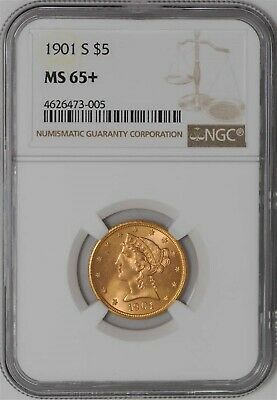1901-S $5 Gold Liberty MS65+ NGC 936949-1