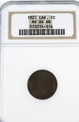 Canada 1922 small 1 cent Graded NGC MS64 Bn