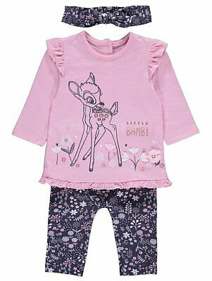 Baby Girls Disney Bambi Pink Top Leggings and Headband Outfit BNWT