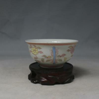 China old Porcelain Ming chenghua multicoloured Hand painting flower cup bowl