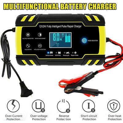Battery Charger 12V 24V for Car Truck Power Bank with LCD Display 150Ah 4A 8A