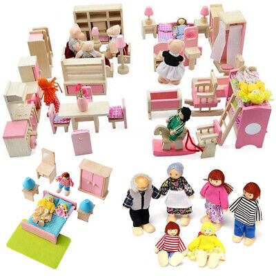 Kids Children Gift Dolls House Furniture Wooden Set People Dolls Toys  New IN