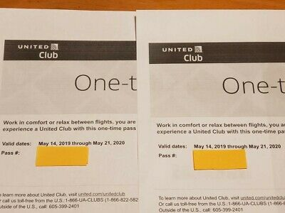 Two(2) United Club One Time Passes Exp 5/21/2020 Free E-delivery