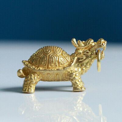 Chinese brass carved beautiful dragon turtle exquisite small pendant_UK