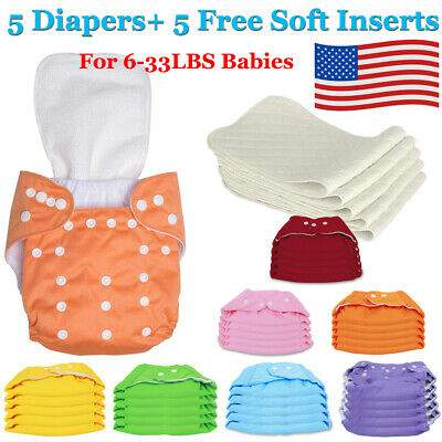 Diaper + Inserts Adjustable Reusable Lot Baby Boy Washable Cloth Diaper Nappies
