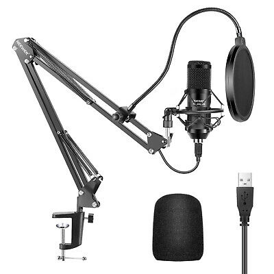 Neewer 192KHz/24Bit Cardioid USB Microphone and Arm Stand Kit (Black)