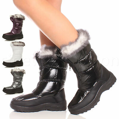 Womens ladies zip padded winter snow fur lined slip on ski boots size