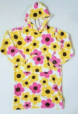 Mini Boden Girls 9 10 Floral Pink Yellow Toweling Hoodie Terry Cover Up Dress