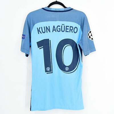 2016-17 Manchester City Home Shirt Player Issue CL #10 KUN AGÜERO (Excellent)...