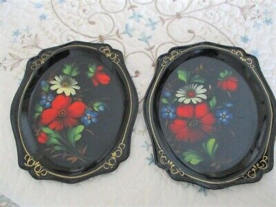 Pair Hand Painted Metal Folk Art Tole Trays -Red Poppy White Daises Blue Violets
